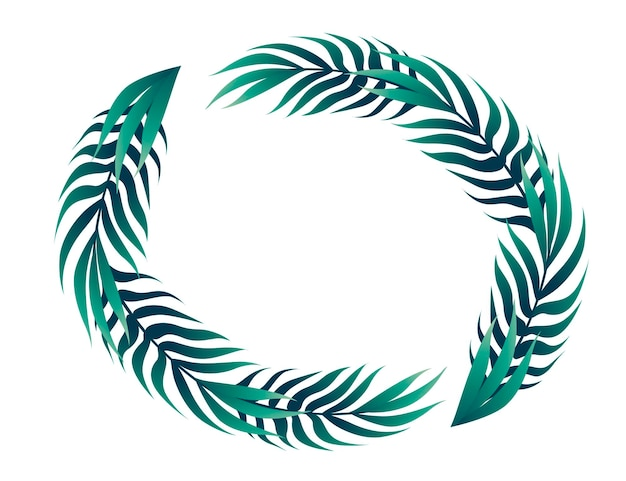 Tropical leaves in circle floral design frame concept flat vector illustration on white background.