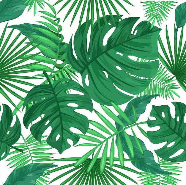 열 대 잎 색상 완벽 한 패턴입니다. 흰색 바탕에 정글 식물입니다. 녹색 잎, 이국적인 열대 식물, 단풍. 장식용 식물 섬유, 벽지, 포장지 디자인