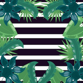 Tropical leaves dark illustration
