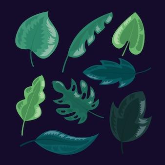 열대 나뭇잎 어두운 그림