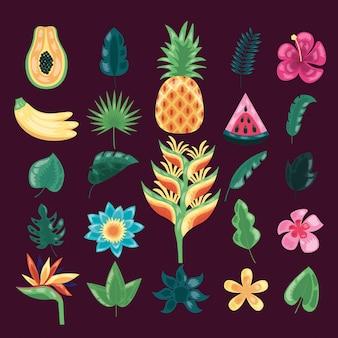 Tropical leaves dark illustration