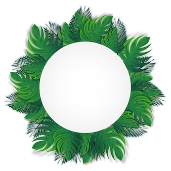 Tropical leaves decorated circular frame