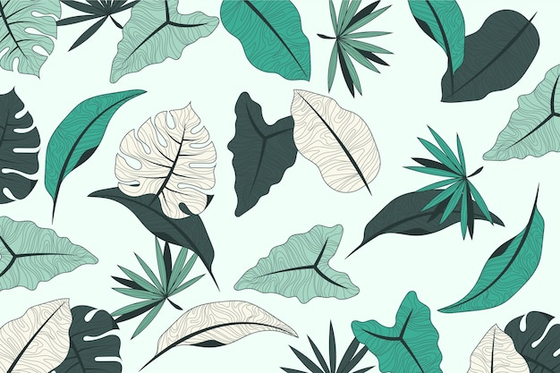 Tropical leaves design with pastel background