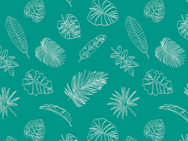 Tropical leaves doodle seamless pattern
