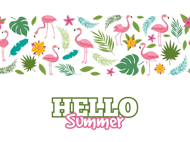 Tropical leaves and flamingo pattern. hello summer background design