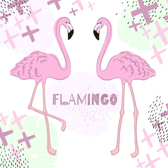 Tropical leaves and flamingo summer banner