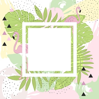 Tropical leaves and flamingo summer frame banner