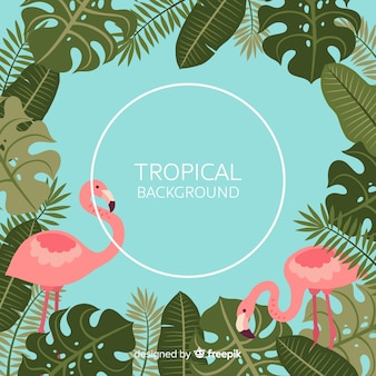 Tropical leaves and flamingos background