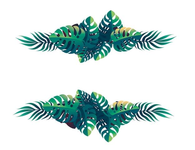 흰색 바탕에 열 대 잎 꽃 디자인 프레임 개념 평면 벡터 일러스트 레이 션.