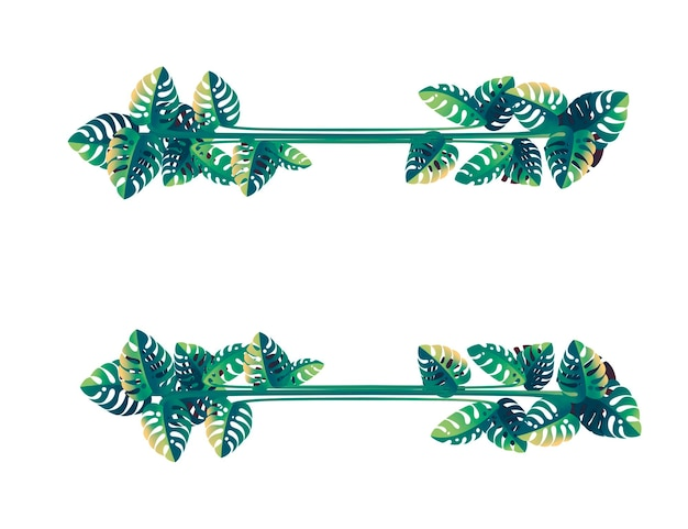 Tropical leaves floral design frame concept flat vector illustration on white background.