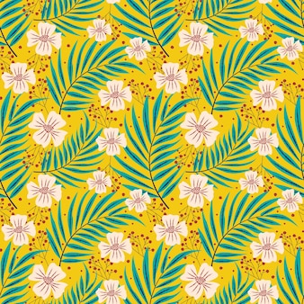 Tropical leaves floral repeat pattern
