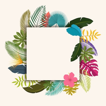 Tropical leaves floral vintage