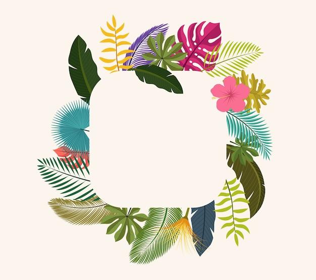 Tropical leaves floral vintage