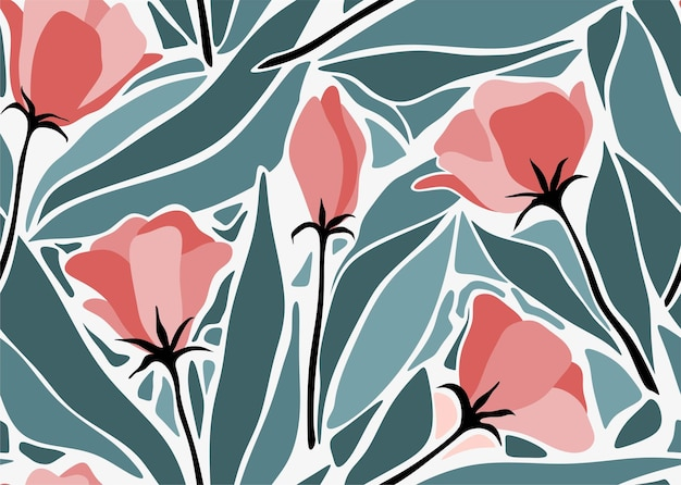 Tropical leaves and flower seamless pattern