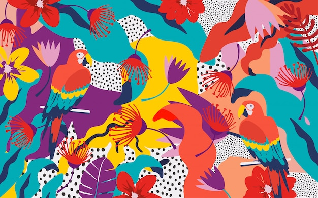 Tropical leaves and flowers background with parrots
