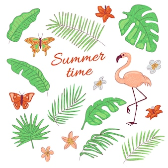Тропические листья, цветы, бабочка, фламинго, экзотический кокос и банановая пальма. летняя иллюстрация