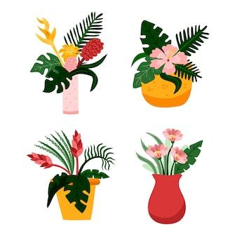 Concetto tropicale del pacchetto dei fiori e delle foglie