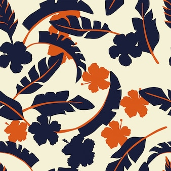 Tropical leaves and flowers in two colors beige seamless pattern wallpaper