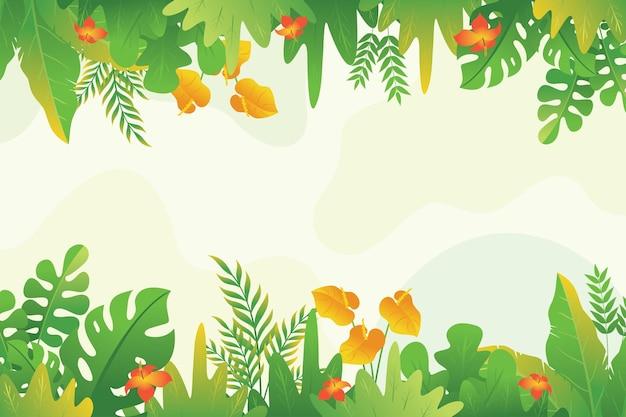 Рамка из тропических листьев, красивые растения из тропических джунглей