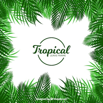 Tropical leaves frame in flat style