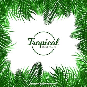 Тропическая рамка из листьев в плоском стиле