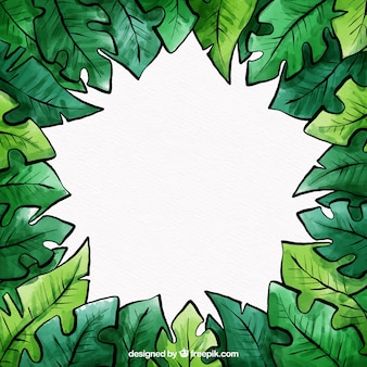Tropical leaves frame in watercolor style