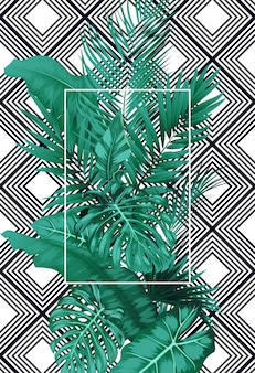 Tropical leaves and frame square on pattern