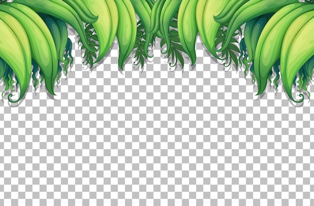Шаблон рамки тропических листьев на прозрачном фоне