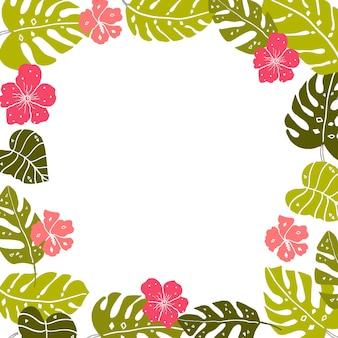 コピースペースのある熱帯の葉のフレーム明るい手描きの葉とハイビスカスの花は白です
