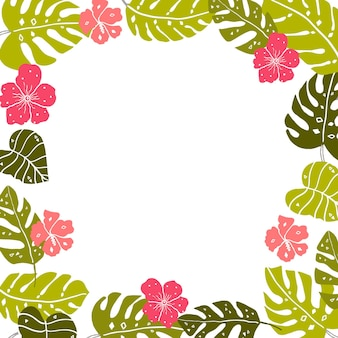 Tropical leaves frame with copyspace bright hand drawn leaf and hibiscus flowers ar white