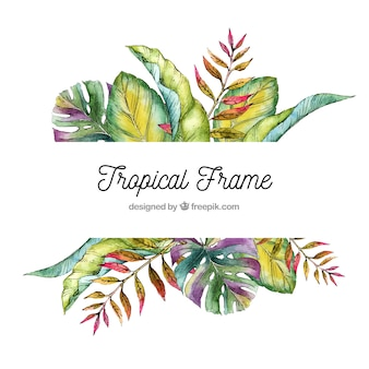 Tropical leaves frame with watercolor style