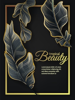 Tropical leaves gold frame.