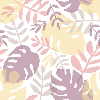Tropical leaves hand drawn seamless pattern. jungle, rainforest flora flat background