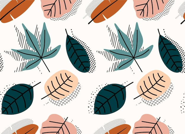 Тропические листья рисованной бесшовные модели.