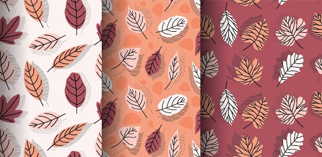 Tropical leaves hand drawn seamless pattern.