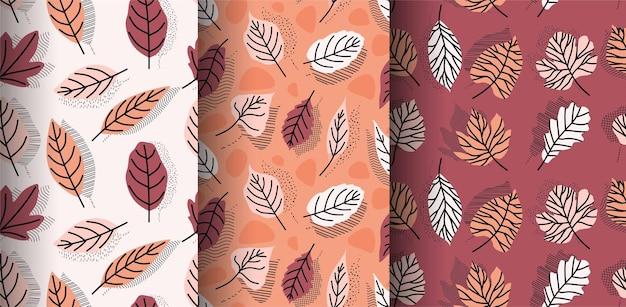 열 대 잎 손으로 그려진 된 완벽 한 패턴입니다.