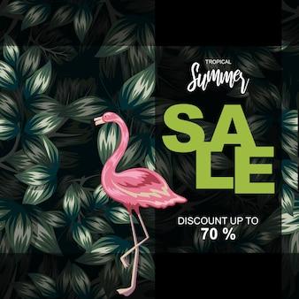 Tropical leaves illustration for summer sale poster
