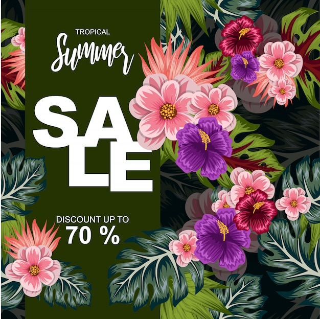 Tropical leaves illustration for summer sale poster
