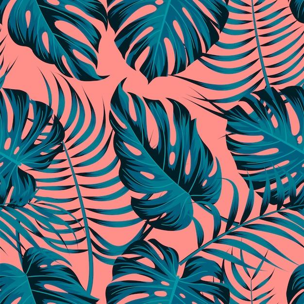 Тропические листья, листья джунглей бесшовный цветочный узор