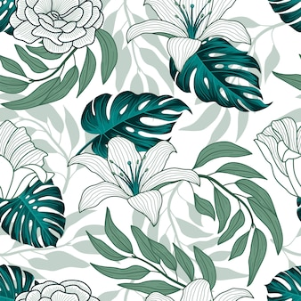 熱帯の葉、ジャングルの葉のシームレスパターン