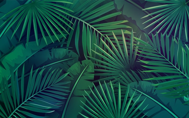 Tropical leaves. layout of jungle exotic banana leaf and areca palm. wallpaper screen summer tropical paradise.