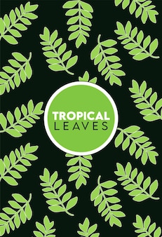 Tropical leaves lettering with leafs pattern in black background