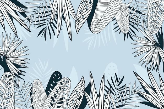 열 대 나뭇잎 선형 배경