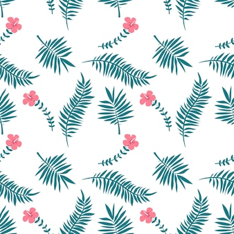 Tropical leaves, monstera, palm trees on white background.