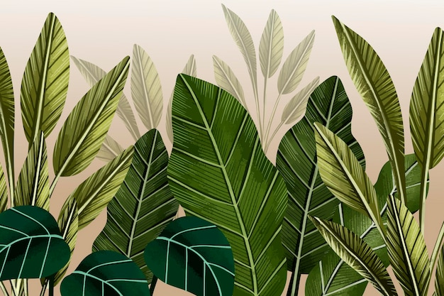 Tropical leaves mural background