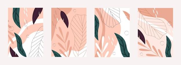 Tropical leaves nature pattern illustration set.