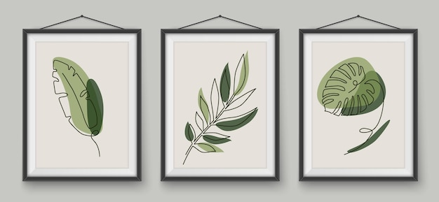 Tropical leaves one line drawing in realistic frames botanical plant vector line art in earth tone