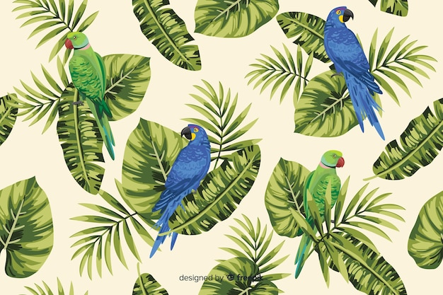 Tropical leaves and parrots background