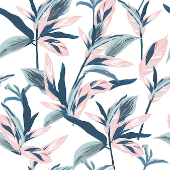 Tropical leaves on pastel mood seamless graphic design