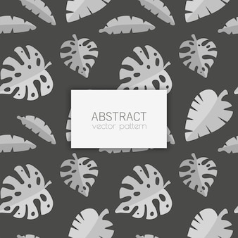 Tropical leaves pattern in black and white colors.